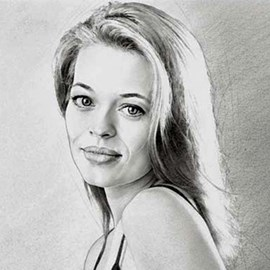 illustration of Charcoal pencil portrait of Jeri Ryan