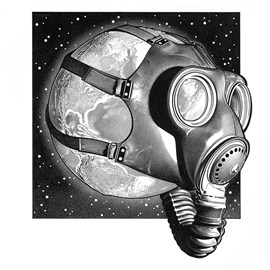 illustration of Pen & ink stipple illustration of Earth with gas mask
