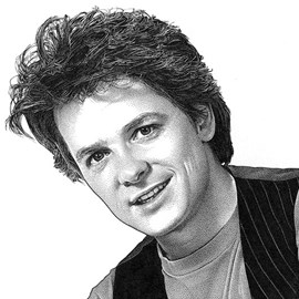 illustration of Pen & ink stipple portrait of Michael J. Fox for Universal Studios