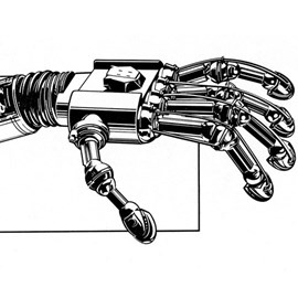 illustration of Pen & ink illustration of a mechanical hand