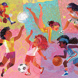 illustration of Tween girls practicing sports: baseball, tenis, soccer, basketball, volleyball, gymnastics.