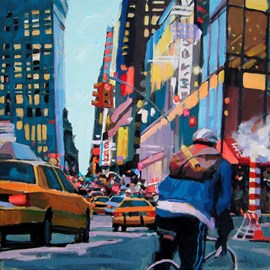 illustration of NYC, New York, urban, city, buildings, traffic, cars, taxi, road, bike, biker, bicycle, delivery, transportation, metropolis, active, metropolitan
