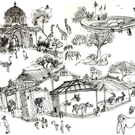 illustration of Black & White, Line, Pen & Ink, Whimsical, Animals, Architectural, Children's Books, Editorial, People