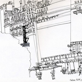 illustration of Black & White, Line, Pen & Ink, Architectural, Editorial, People