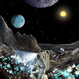 illustration of Astronomers have discovered a rocky planet 40 light years away, so heavy that it must be composed of dense carbon, aka diamond. At this point sending astronauts to mine the surface for diamonds is still science-fiction, but discovering that planets like this exist brings us one-step closer. (space, stars, astronomy, physics, sci-fi, science)