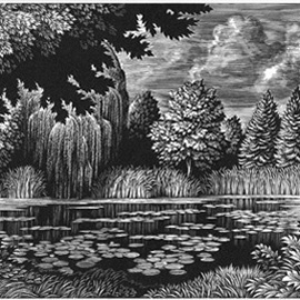 illustration of Graphic, Line, Scratchboard, Woodcut, Landscape, Leisure