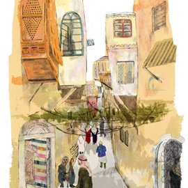 illustration of Painterly-WaterColour-Collage-Landscape-Urban-people-Character-CharacterDevelopment-Streets-