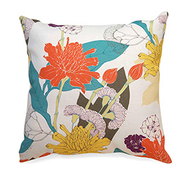 illustration of Floral Pillow design for Tropical Dream Home Decor Line.