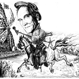 illustration of AA Gill on a horse Video scribing + white board animation