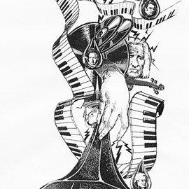 illustration of Black & White, Collage, Design, Montage, Pen & Ink, Music, Technology