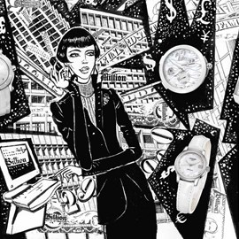 illustration of Black & White, Line, Pen & Ink, Editorial, Fashion/Cosmetics, People