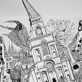 illustration of Black & White, Pen & Ink, Decorative, Landscape, Leisure, People, Lifestyle