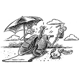 illustration of lungs trachea umbrella clouds crab beach pharmaceutical consumer cartoon