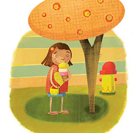 illustration of Young girl enjoying an ice cream cone in the shade on a hot summer day.