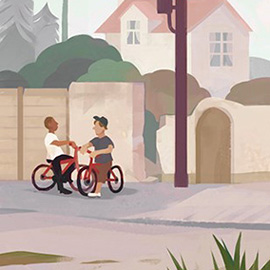 illustration of Illustration Friday submission: 'Children'. Two kids on bikes on leafy, overgrown back roads of a suburban neighbourhood.