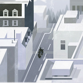 illustration of Illustration Friday: 'Voyage'. A person rides a motorbike through a pale, minimalist city street to a forest and mountain in the background.