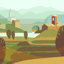 illustration of A warm landscape of Northern Italy  with a small town, chapels and mountains in the background.