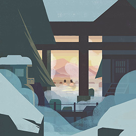 illustration of A couple in a Japanese hot spring bath watching the sunset. Snow covers the scenery and steam rises from the hot spring.