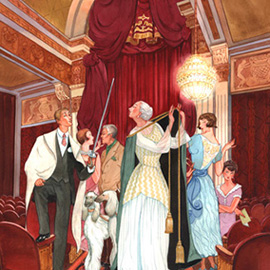 illustration of  Retro Deco style characters in elegant theater interior. Poster for Ahmanson Theatre - Los Angeles, CA