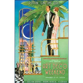 illustration of Elegant couple in historic Art Deco setting for Miami Design Preservation League.