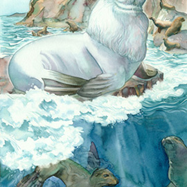 illustration of White seal and pups in ocean waves for 100 anniversary issue of Rudyand Kipling's Jungle Books.