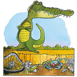 illustration of Alligator and crab, no water, water pollution, drought