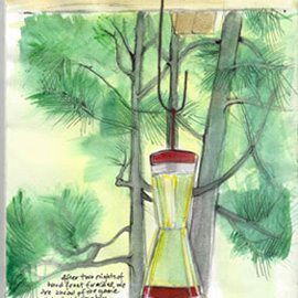 illustration of Journal mixed media sketch of the hummingbird feeder that we keep on the deck of our house.