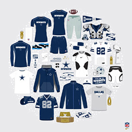 illustration of Jordon Cheung's vector work on behalf of Nike and Dallas Cowboys celebrating the sports equipment of american football. American football. Cleats. Cones. Water bottle. Hat. Nike. Socks. Helmet. Jacket. T shirt. Sweat bands. Timer. Rings. Shoulder pads. Scarve. New York. Giants. Fleece. Outerwear. Pennant. Award. Towel. NFL.
