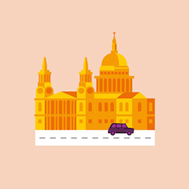 illustration of cathedral, church, St Pauls, London, tourism, map, taxi, bus, street, landscape