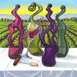illustration of Painting for the Wall Street Journal about Odd Wines.