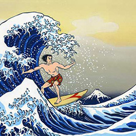 illustration of Parody of Hokusai for article on surfing in Japan.