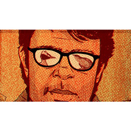 illustration of Newspaper literary review section portrait of writer Jonathan Franzen and birds