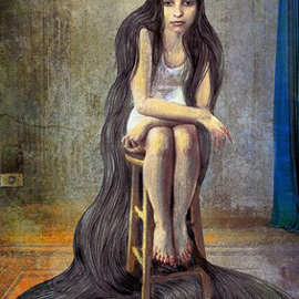 illustration of Girl sitting with long hair.