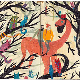 illustration of Gouache, Painterly, Whimsical, Adventure, Animals, Fantasy, Nature, People, Wildlife