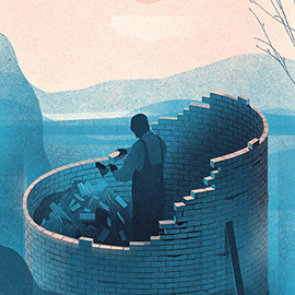 illustration of A retro style digital illustration for Forbes Japan. A man building a circular wall around himself