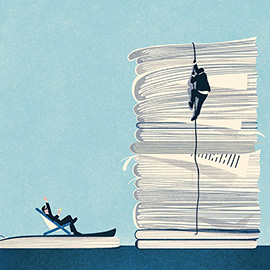 illustration of A retro style digital illustration for Variety Magazine. A man scaling an oversize pile of scripts