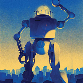 illustration of A retro style digital illustration of a massive robot for Audi Magazine.