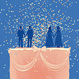 illustration of A retro-style digital illustration for Variety Magazine of two men holding hands onto of a wedding cake.