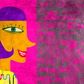 illustration of girl, profile,lettering, poet,