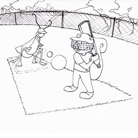 illustration of Line art, coloring page, squirrel, cartoon, character, environment, playing cricket, cricket, ball, field, bat