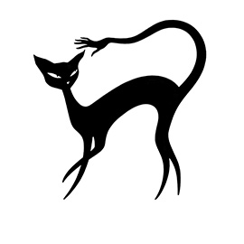 illustration of Funny, lovely, slinky, elegant black cat with a handy hand on the end of its tail.