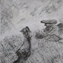 illustration of Pencil concept sketch for Wuthering Heights