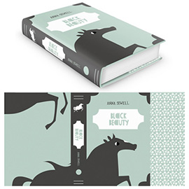 illustration of Book cover design for Black Beauty by Anna Sewel.