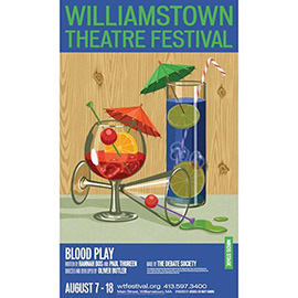 illustration of drinks, summer, cocktails, poster, theatre