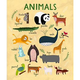 illustration of Cartoon, Lettering, Line with Color, Animals, Children's Books, Education, Posters, Wildlife