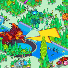 illustration of Pixel, Detailed, Isometric, Pixel Art, Digital, Graphic, Dragon, Fantasy, League Of Legends, Tree, Gaming, Games,