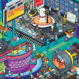 illustration of Pixel, Detailed, Isometric, Pixel Art, Digital, Graphic, Future, Technology, Hamster, Editorial, People, Scene, Panorama, Noise Magazine