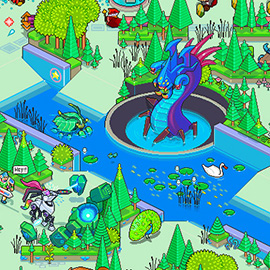illustration of Pixel, Detailed, Isometric, Pixel Art, Digital, Graphic, Dragon, Fantasy, League Of Legends, Tree, Gaming, Games, Level, Panorama, Duel
