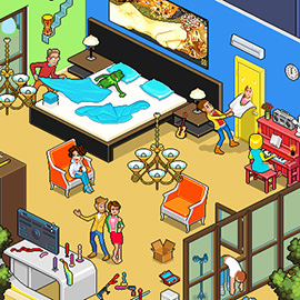 illustration of Pixel, Detailed, Isometric, Pixel Art, Digital, Graphic, People, House, Furniture, Humour, Kermit, Scene