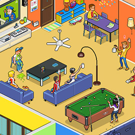 illustration of Pixel, Detailed, Isometric, Pixel Art, Digital, Graphic, House, People, Gaming, Snooker, Drink